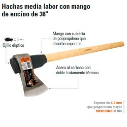 """Hacha Labor Entera con Mango de Encino de 36"""" TRUPER"""