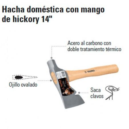 """Hacha Doméstica con Mango de Hickory 14"""" TRUPER"""