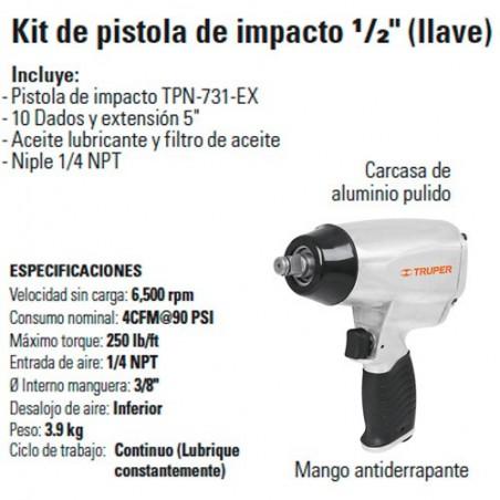 """Kit de Pistola de Impacto 1/2"""" con Estuche Plástico Neumatica TRUPER"""