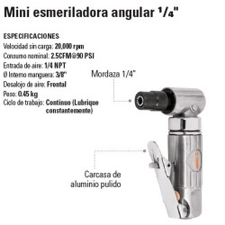 "Mini Esmeriladora Angular 1/4"" Neumatica TRUPER"
