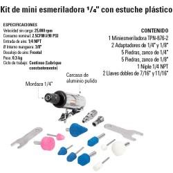 """Kit de Mini Esmeriladora Neumatica 1/4"""" con estuche Plástico TRUPER"""