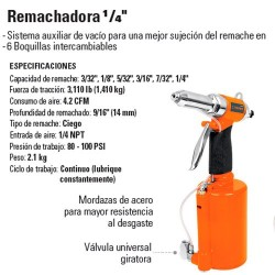 "Remachadora 1/4"" Neumatica  TRUPER"