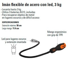 Imán Flexible de Acero con Led 3 kg TRUPER