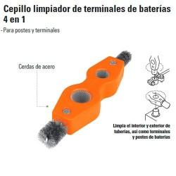 Cepillo Limpiador de Terminales de Baterías 4 en 1 TRUPER