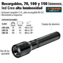 Linterna Recargable Luz Ajustable Led Alta Luminosidad TRUPER