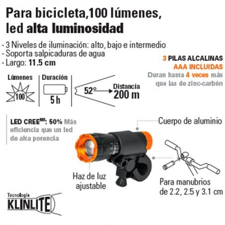 Linterna para Bicicleta 100 Lúmenes Led Alta Luminosidad TRUPER