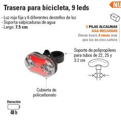 Linterna Trasera para Bicicleta 9 Leds TRUPER