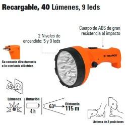 Linterna Plástica Recargable 40 Lúmenes 9 Leds TRUPER
