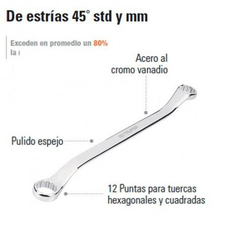 Llave Combinada de Estrías 45° STD y MM TRUPER