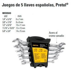 Juego de 5 Llaves Españolas PRETUL