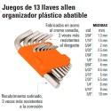 Juego de 13 Llaves Allen Organizador Plástico Abatible TRUPER