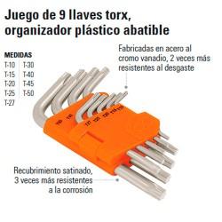 Juego de 9 Llaves Torx Organizador Plástico Abatible TRUPER