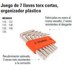 Juego de 7 Llaves Torx Cortas Organizador Plástico TRUPER