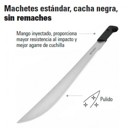 Machete Estándar Cacha Negra Sin Remaches TRUPER