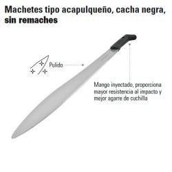 Machete Tipo Acapulqueño Cacha Negra Sin Remaches TRUPER