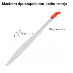 Machete Tipo Acapulqueño Cacha Naranja TRUPER