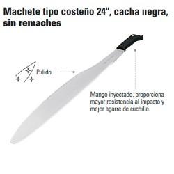 """Machete Tipo Costeño 24"""" Cacha Negra Sin Remaches TRUPER"""