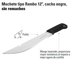 """Machete Tipo Rambo 12"""" Cacha Negra Sin Remaches TRUPER"""