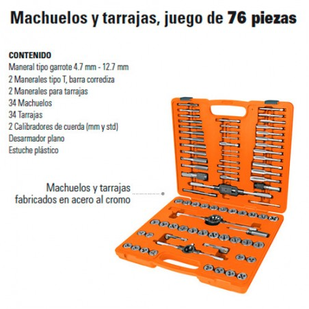 Machuelo y Tarraja Juego de 76 Piezas TRUPER