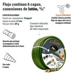 "Manguera Armada Flujo Continuo 6 Capas 5/8"" TRUPER"