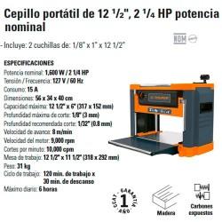 "Cepillo Portátil de 12 1/2"" 2 1/4 HP Potencia Nominal TRUPER"