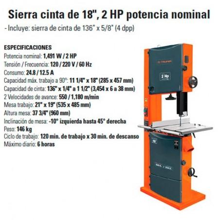 "Sierra Cinta de 18"" 2 HP Potencia Nominal TRUPER"