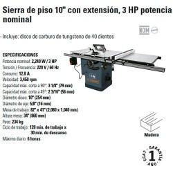 "Sierra de Piso 10"" con Extensión 3 HP Potencia Nominal TRUPER"