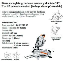 """Sierra de Inglete p/ corte en Madera y Aluminio 12"""" 2 1/2 HP Potencia Nominal TRUPER"""