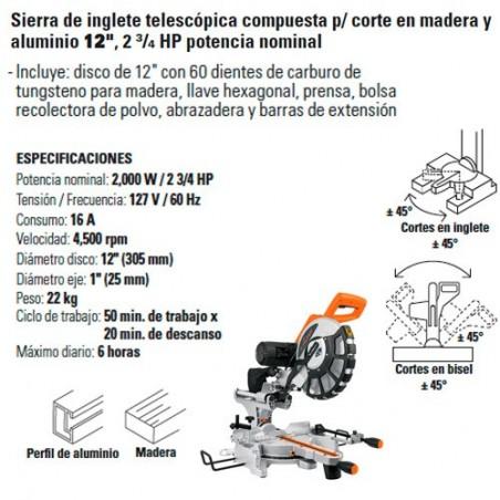 """Sierra de Inglete Telescópica Compuesta para Corte en Madera y Aluminio 12"""" 2 3/4 HP Potencia Nominal TRUPER"""