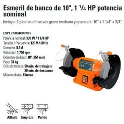 """Esmeril de Banco de 10"""" 1 1/4 HP Potencia Nominal TRUPER"""