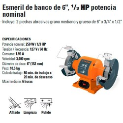 """Esmeril de Banco de 6"""" 1/3 HP Potencia Nominal TRUPER"""