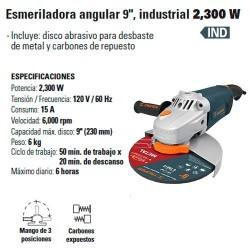 "Esmeriladora Angular 9"" Industrial 2300 W TRUPER"