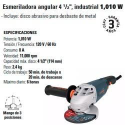 "Esmeriladora Angular 4 1/2"" Industrial 1010 W TRUPER"