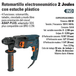 Rotomartillo Electroneumático 2 Joules con Estuche Plástico TRUPER