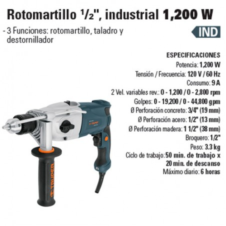"Rotomartillo 1/2"" Industrial 1200 W TRUPER"