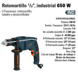 "Rotomartillo 1/2"" Industrial 650 W TRUPER"