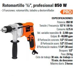 "Rotomartillo 1/2"" Profesional 850 W TRUPER"