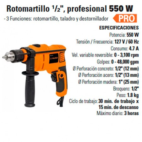"Rotomartillo 1/2"" Profesional 550 W TRUPER"