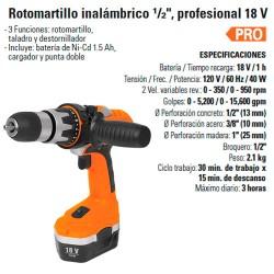 """Rotomartillo Inalámbrico 1/2"""" Profesional 18 V TRUPER"""