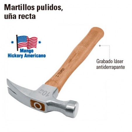 Martillo Pulido Uña Recta Mango Hickory Americano TRUPER