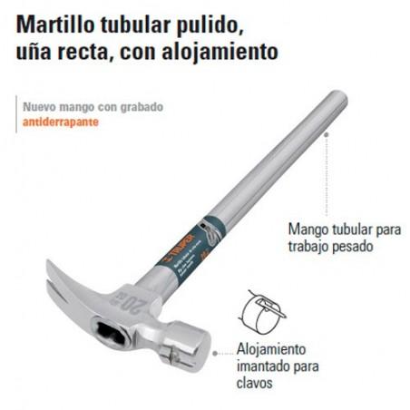 Martillo Tubular Pulido Uña Recta con Alojamiento TRUPER