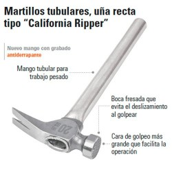 "Martillo Tubular Uña Recta Tipo ""California Ripper"" TRUPER"
