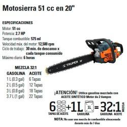 """Motosierra 51 cc en 20"""" TRUPER"""