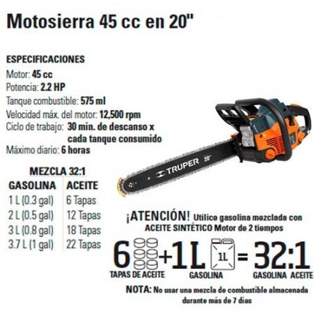 """Motosierra 45 cc en 20"""" TRUPER"""