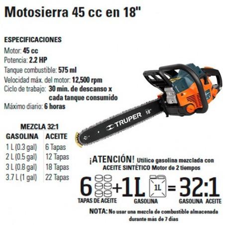 """Motosierra 45 cc en 18"""" TRUPER"""