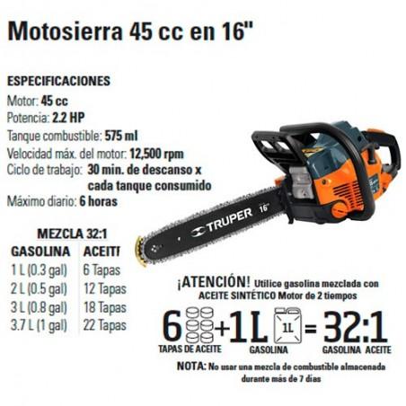 """Motosierra 45 cc en 16"""" TRUPER"""