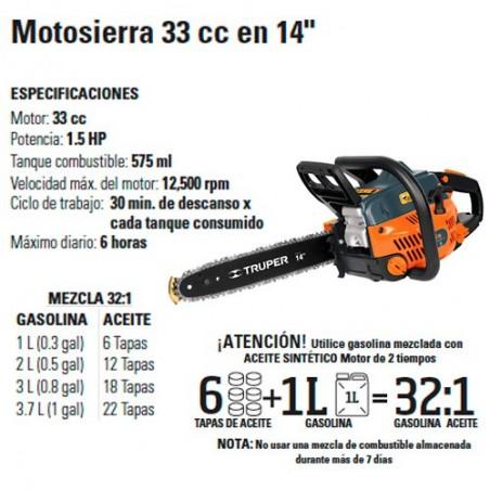 """Motosierra 33 cc en 14"""" TRUPER"""