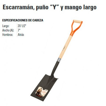 """Pala Escarramán Puño """"Y"""" y Mango Largo TRUPER"""