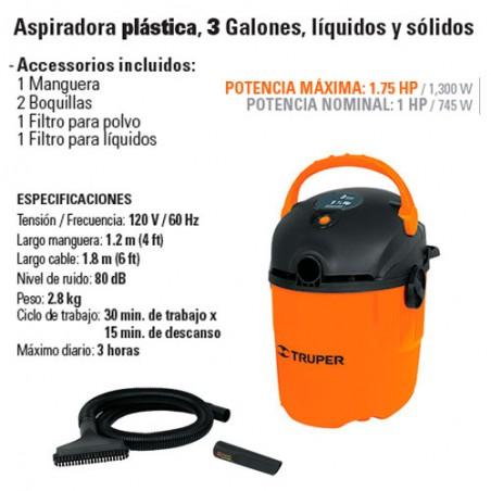 Aspiradora 3 Galones 1 3/4 HP TRUPER