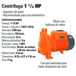 Bomba Centrifuga 1 1/2 HP TRUPER